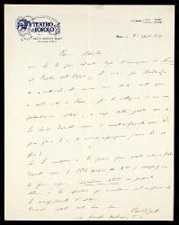 Lettera di Carlo Gatti a Alfredo Casella, Milano 20 aprile 1927