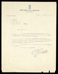 Lettera di Carlo Gatti a Alfredo Casella, Milano 23 luglio 1942