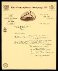 Lettera di J. W. Gaisberg a Alfredo Casella, Hayes (Middlesex) 25 luglio 1933