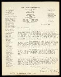 Lettera di Claire R. Reis a Alfredo Casella, New York 10 aprile 1935