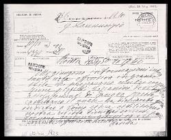 Telegramma di Alfredo Casella a Gabriele D'Annunzio, Roma 10 ottobre 1923