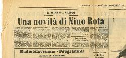 Una novità di Nino Rota  29 - 30 novembre 1962