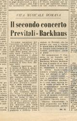Il secondo concerto Previtali-Backhaus  30 novembre 1962