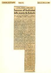 Con un concerto di Saint-Saens. Successo all'Auditorium della pianista De Barberiis  : In programma anche una novità di Nino Rota e lo 'Stabat Mater' di Klebe diretti da Pradella 15 ottobre 1966