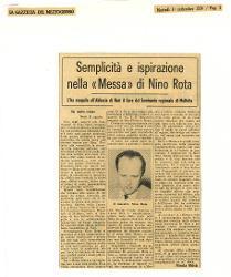 Semplicità e ispirazione nella 'Messa' di Nino Rota  : L'ha eseguita all'Abbazia di Noci il Coro del Seminario regionale di Molfetta 01 settembre 1964