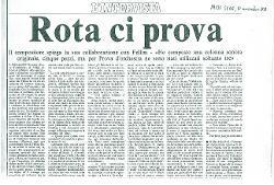 Rota ci prova  : Il compositore spiega la sua collaborazione con Fellini - 'Ho composto una colonna sonora originale, cinque pezzi, ma per Prova d'orchestra ne sono stati utilizzati soltanto tre' 10 novembre 1978