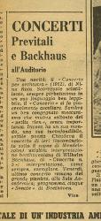 Previtali e Backhaus all'Auditorio  29 - 30 novembre 1962