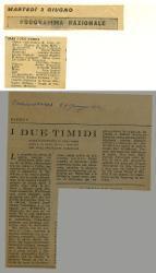 Programma Nazionale. I due timidi  03 giugno [1952]