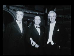 positivo Foto di gruppo: Giorgio Strehler, Nino Rota e Nino Sanzogno, 02 giugno 1958