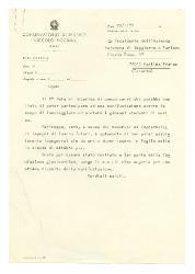 [Nino] Rota al Presidente dell'Azienda Autonoma di Soggiorno e Turismo - Martina Franca, Bari 29 gennaio 1973