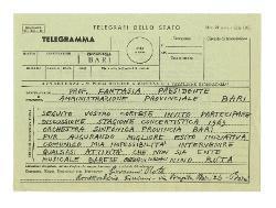 Nino Rota a [Matteo] Fantasia, Bari 1 aprile 1969