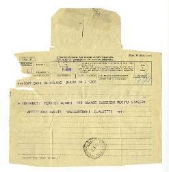 [Guido] Valcarenghi e [Eugenio] Clausetti a Nino Rota, Milano 5 gennaio 1957