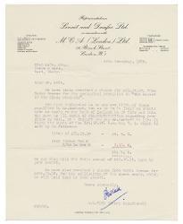 R. W. Fenn a Nino Rota 14 novembre 1950