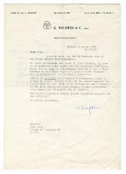 Eugenio [Clausetti] a Nino Rota, Milano 5 marzo 1969