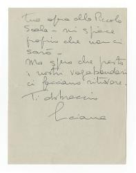 Luciana [Farchy Segre] a Nino Rota 13 febbraio 1966