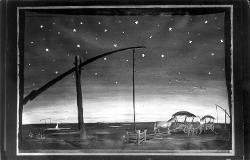 Ungarische Romantik (Ungheria Romantica) Pianura con animali e cielo stellato / Bozzetto