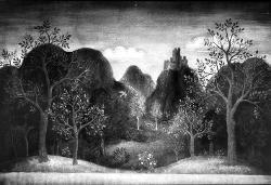 Ungarische Romantik (Ungheria Romantica) Campagna con colline / Bozzetto