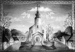 Ungarische Romantik (Ungheria Romantica) Chiesa di villaggio / Bozzetto