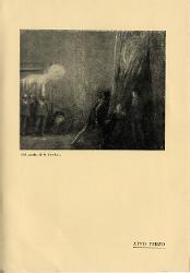 Parisina Varie figure con candele in mano e tre personaggi a destra / Illustrazione
