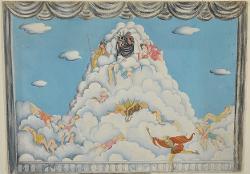 Sipario con Zeus tra le nuvole circondato da figure femminili e altre divinità / Bozzetto
