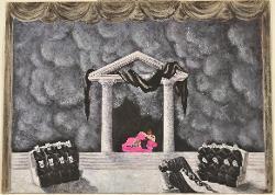 Scena teatrale con frontone di tempio e gradini / Bozzetto