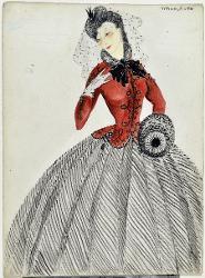 Giuseppe Verdi Abito con corpetto rosso e cappello con velina / Figurino