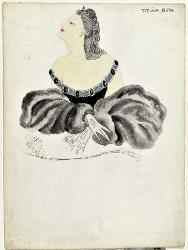 Giuseppe Verdi Dettaglio di abito con ampia scollatura / Figurino