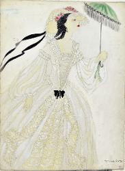Giuseppe Verdi Dettaglio di abito da giorno con copricapo e ombrellino / Figurino