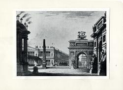 Massimino e Virginia ossia la distruzione di Pompeiano Piazza monumentale con arco di trionfo e obelisco / Bozzetto