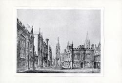 Piazza gotica con monumento centrale / Illustrazione