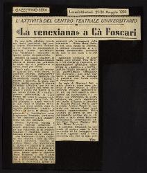 «La venexiana» a Ca' Foscari  29 maggio 1950 - 30 maggio 1950