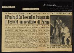 Il Teatro di Ca' Foscari ha inaugurato il Festival universitario di Parma  12 aprile 1954 - 13 aprile 1954